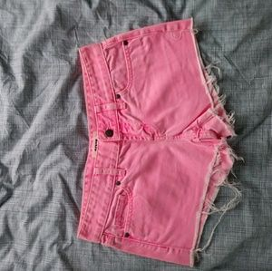 Pink by Victorias Secret hot pink denim shorts 0